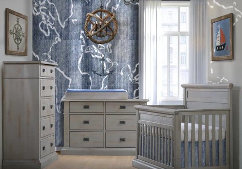 Natart Natart Cortina Crib IN Grey Chalet , Double Dresser,5 Drawer Dresser, And Changer