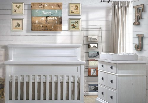 Natart Natart Cortina Crib IN White Chalet , Double Dresser, 5 Drawer Dresser, And Changer