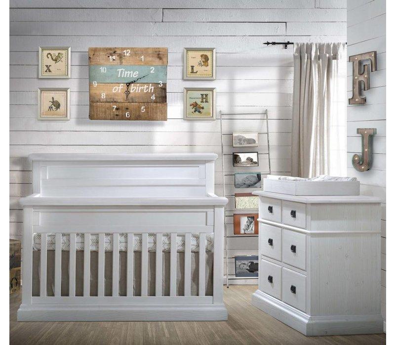 Natart Cortina Crib IN White Chalet , Double Dresser, 5 Drawer Dresser, And Changer