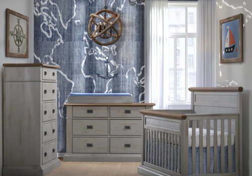 Natart Natart Cortina Crib IN Grey Chalet With Cognac, Double Dresser, 5 Drawer Dresser, And Changer