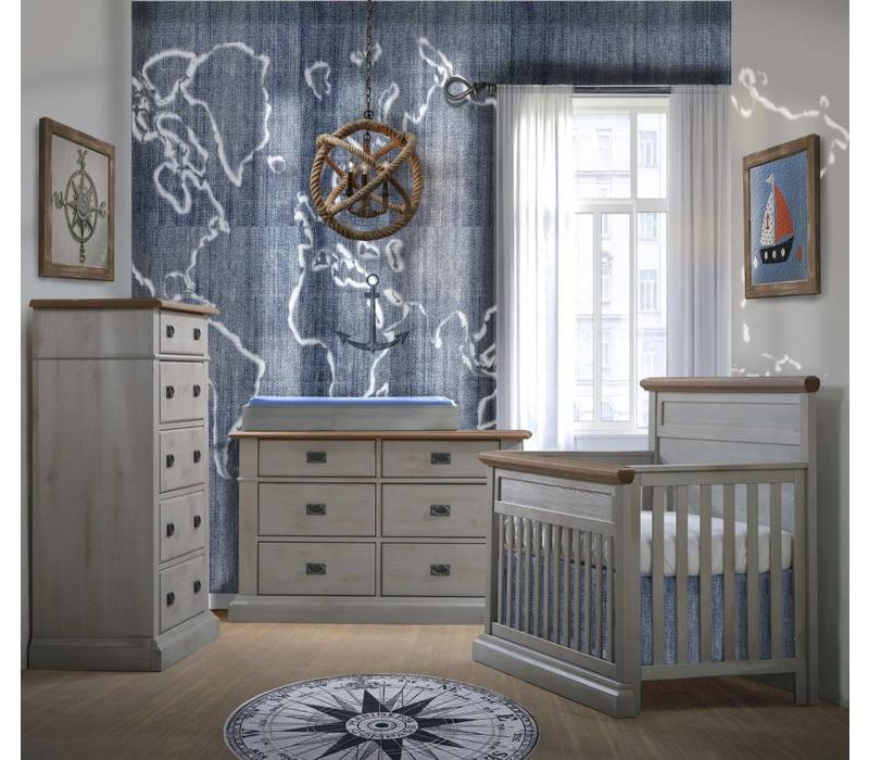Natart Cortina Crib IN Grey Chalet With Cognac, Double Dresser, 5 Drawer Dresser, And Changer