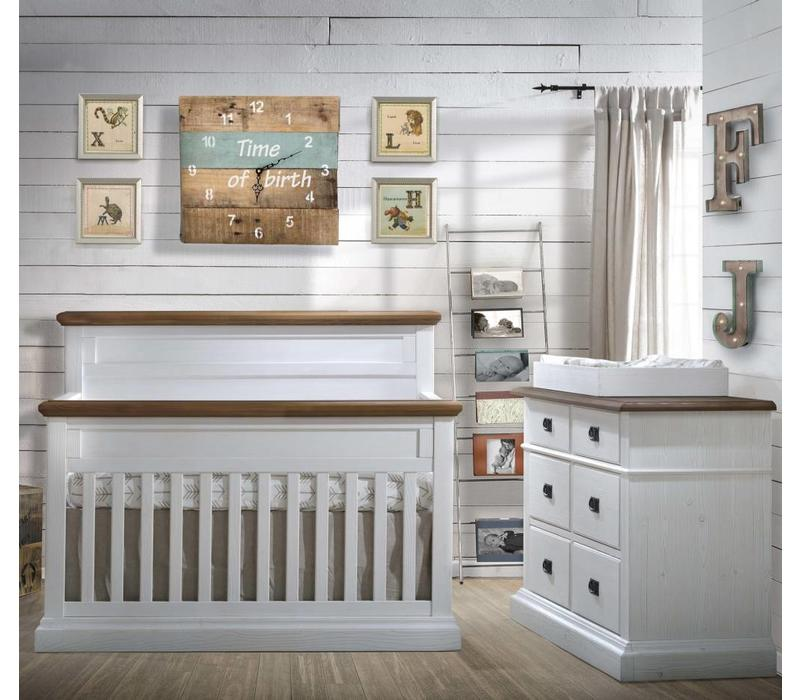 Natart Cortina Crib IN White Chalet With Cognac, Double Dresser, 5 Drawer Dresser, And Changer