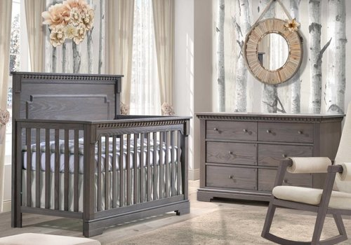 Natart Natart Ithaca Convertible Crib In Grigio With Double Dresser