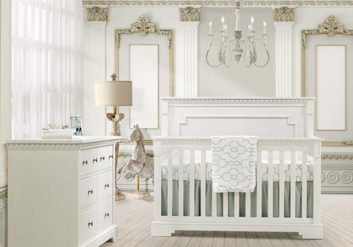 Natart Natart Ithaca Convertible Crib In White With Double Dresser