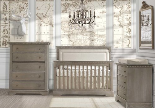 Natart Natart Ithaca Convertible Crib In Owl With Double Dresser, And 5 Drawer Dresser