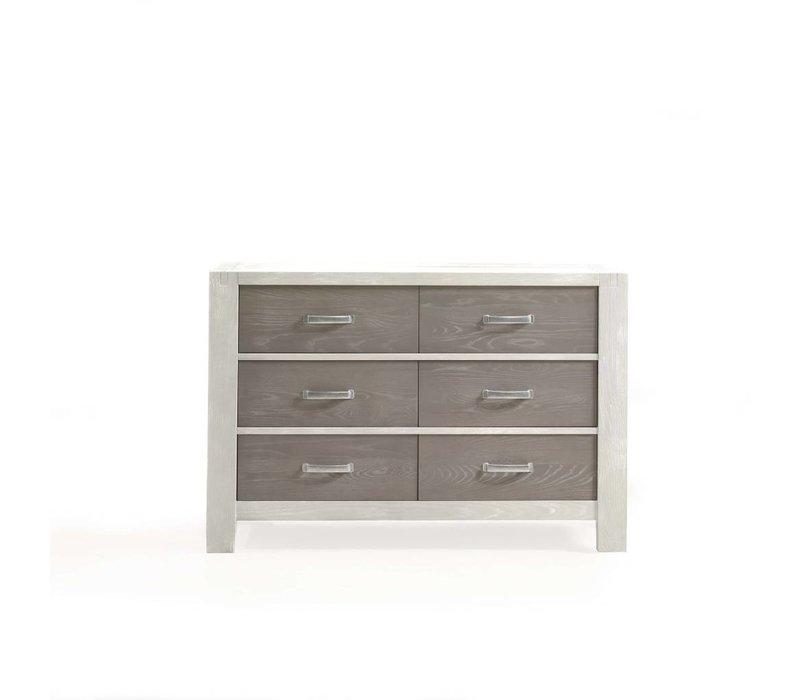Natart Rustico-Moderno Double Dresser In White-Owl