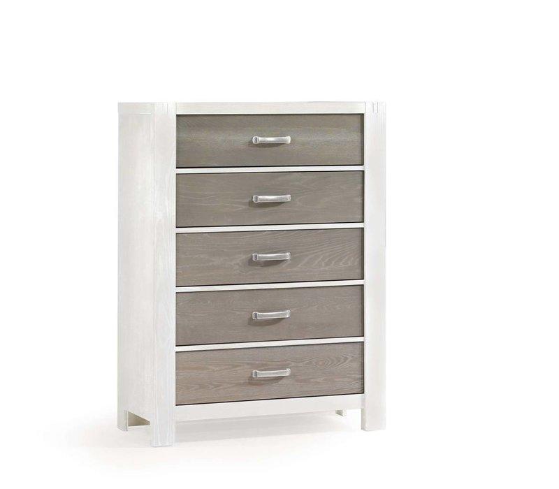 Natart Rustico-Moderno 5 Drawer Dresser In White-Owl