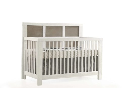Natart Natart Rustico-Moderno 4-in-1 Convertible Crib with Wood Panel (w/out rails) In White-Owl