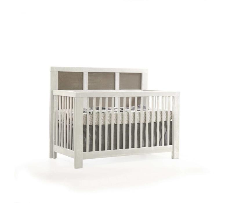 Natart Rustico-Moderno 4-in-1 Convertible Crib with Wood Panel (w/out rails) In White-Owl