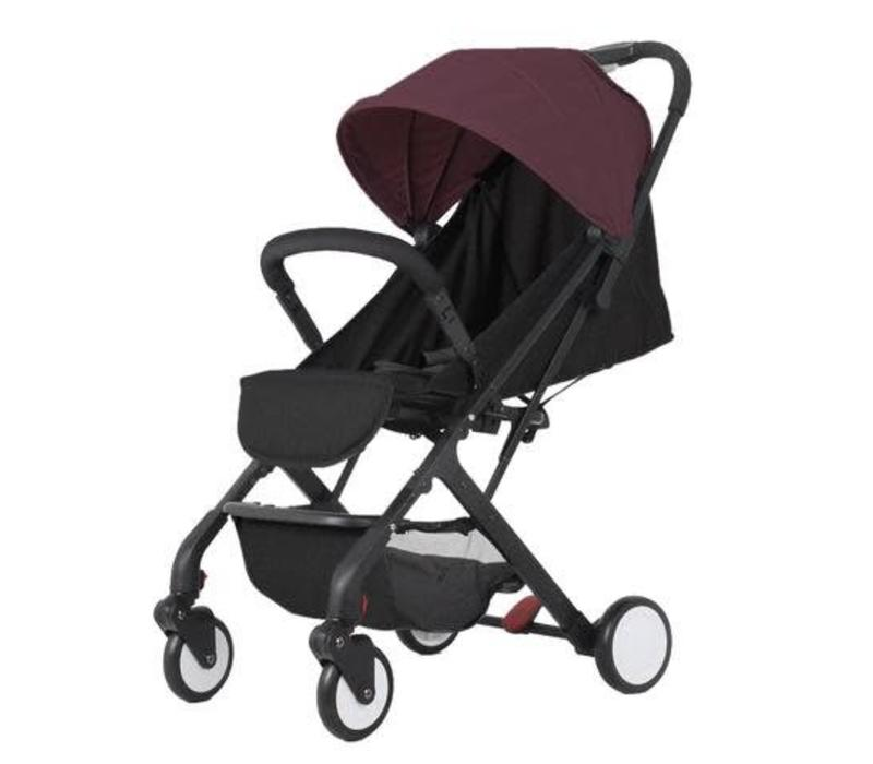 Baby Roues Roll And Go Stroller In Black Frame- Rust Canopy