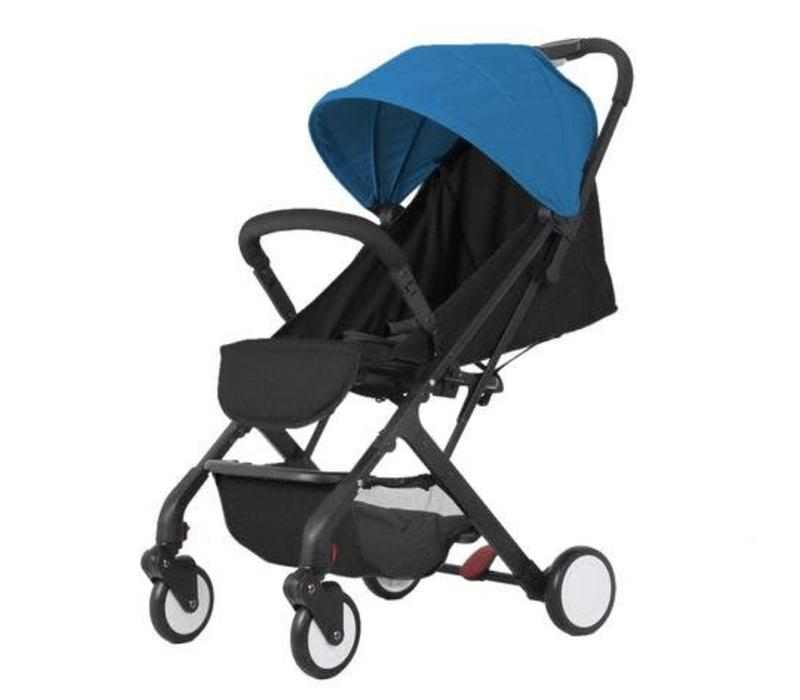 Baby Roues Roll And Go Stroller In Black Frame- Blue Canopy