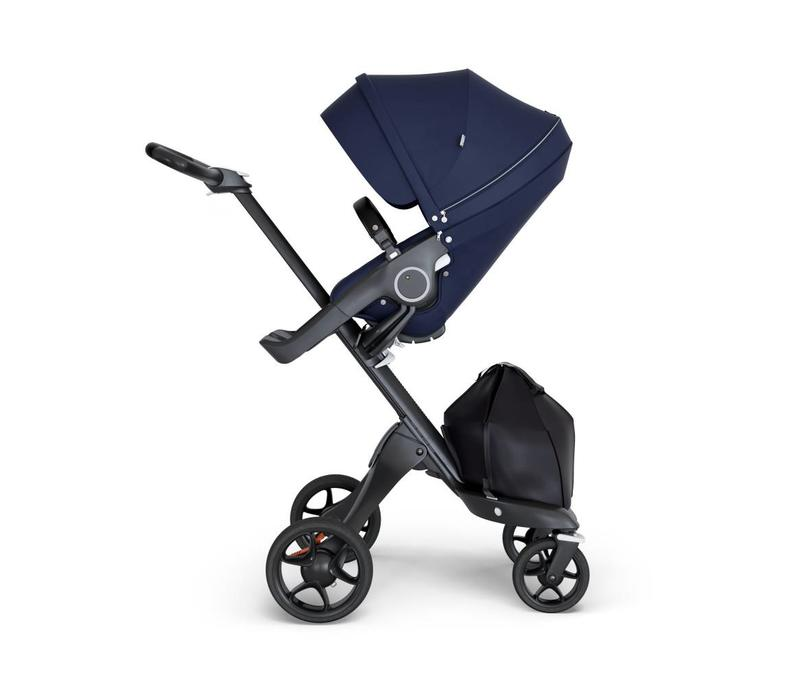 2019 Stokke Xplory Black Chassis -Stroller Seat Deep Blue and Black Handle