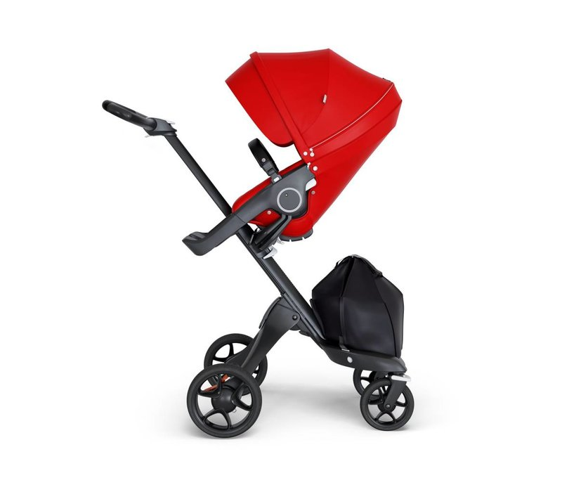 2018 Stokke Xplory Black Chassis -Stroller Seat Red and Black Handle