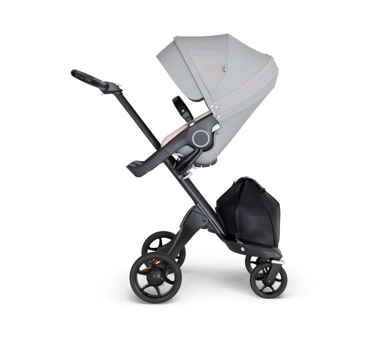 2018 Stokke Xplory Black Chassis -Stroller Seat Athleisure Pink and Black Handle