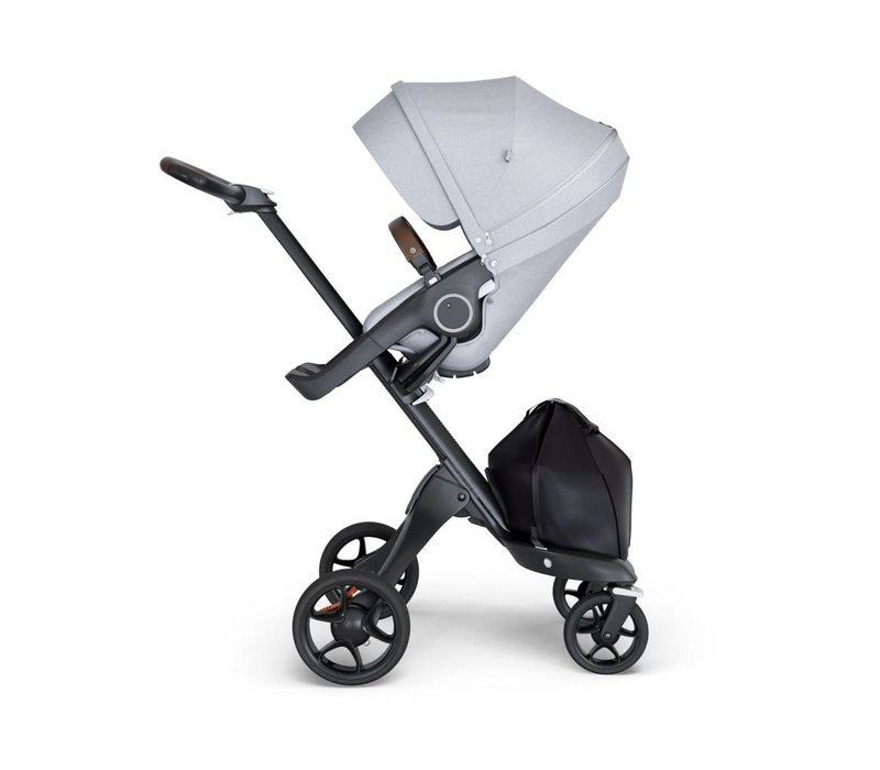 2019 Stokke Xplory Black Chassis -Stroller Seat Grey Melange and Brown Handle