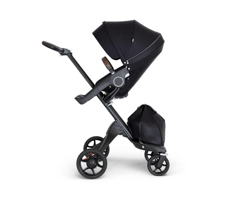 2018 Stokke Xplory Black Chassis -Stroller Seat Black and Brown Handle