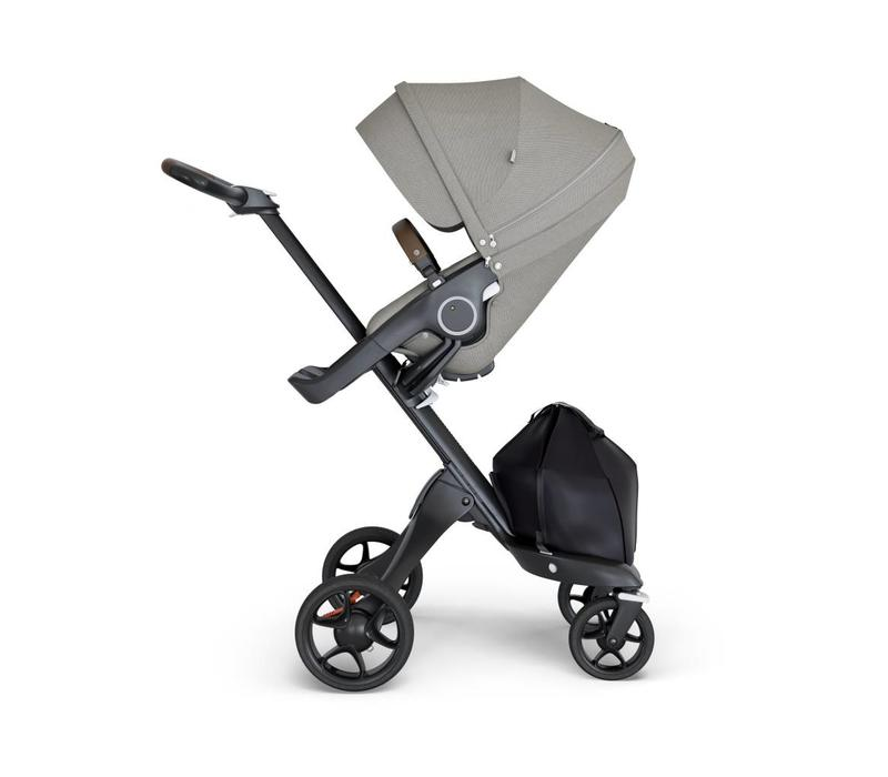 2018 Stokke Xplory Black Chassis -Stroller Seat Brushed Grey and Brown Handle