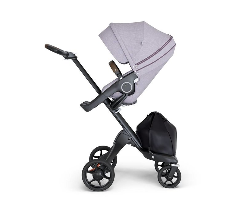 2018 Stokke Xplory Black Chassis -Stroller Seat Brushed Lilac and Brown Handle