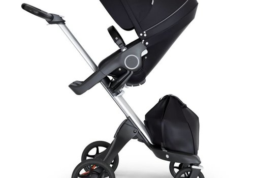 Stokke 2018 Stokke Xplory Silver Chassis -Stroller Seat Black and Black Handle