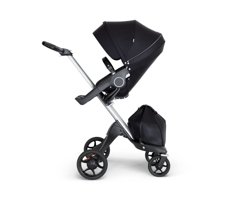 2018 Stokke Xplory Silver Chassis -Stroller Seat Black and Black Handle