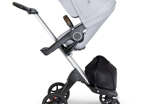 Stokke 2018 Stokke Xplory Silver Chassis -Stroller Seat Grey Melange and Brown Handle