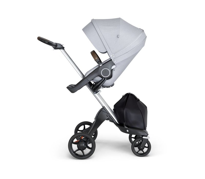 2019 Stokke Xplory Silver Chassis -Stroller Seat Grey Melange and Brown Handle