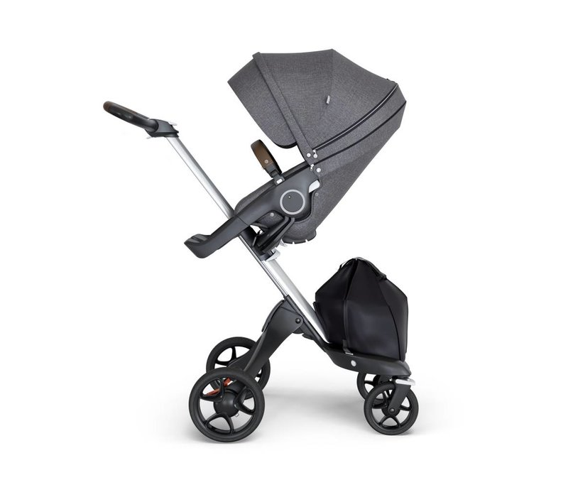 2018 Stokke Xplory Silver Chassis -Stroller Seat Black Melange and Brown Handle
