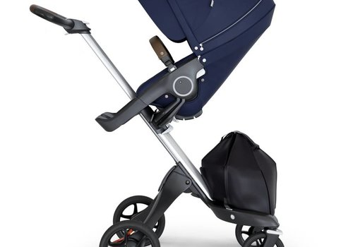 Stokke 2018 Stokke Xplory Silver Chassis -Stroller Seat Deep Blue and Brown Handle