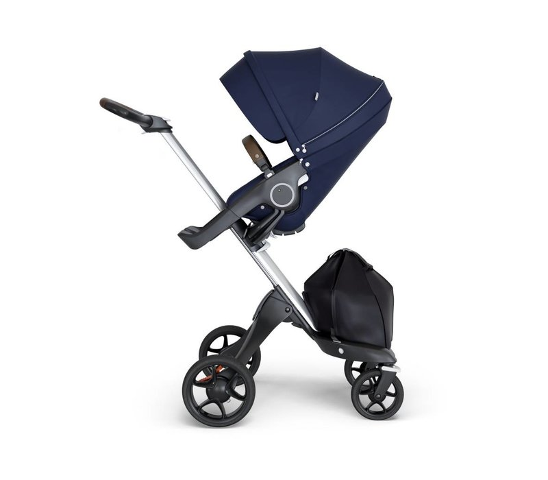2019 Stokke Xplory Silver Chassis -Stroller Seat Deep Blue and Brown Handle