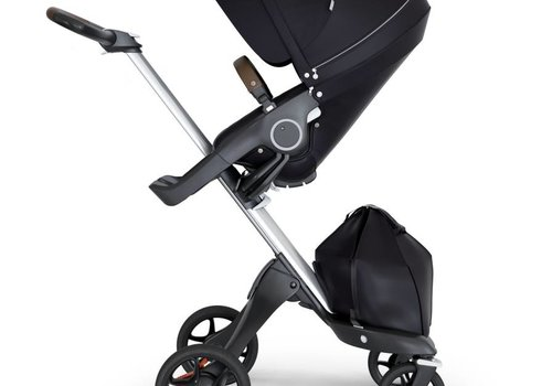 Stokke 2018 Stokke Xplory Silver Chassis -Stroller Seat Black and Brown Handle