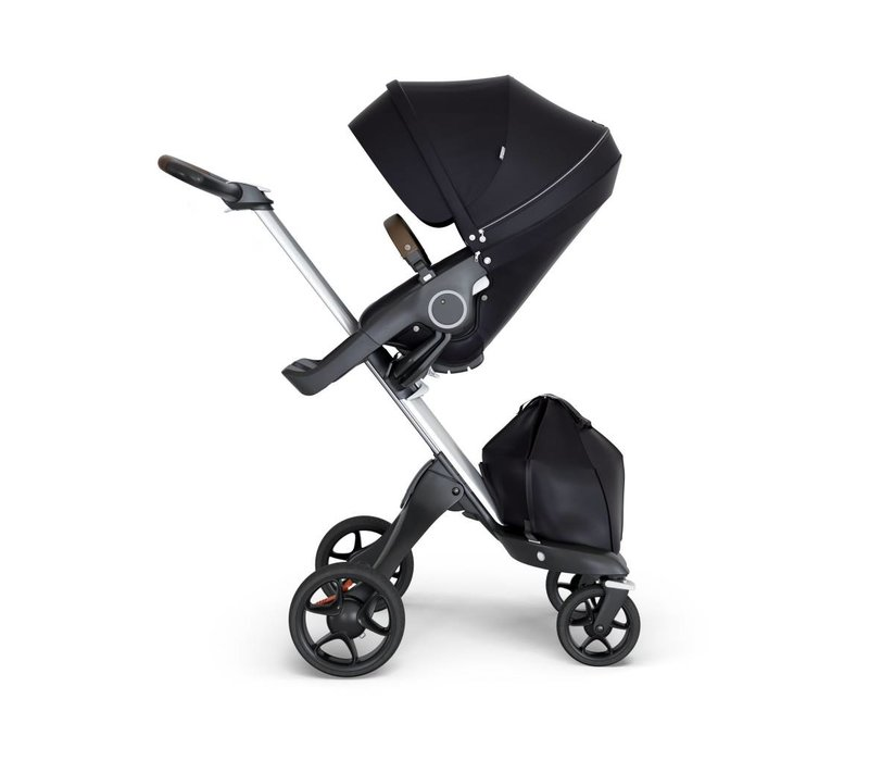 2018 Stokke Xplory Silver Chassis -Stroller Seat Black and Brown Handle