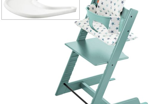 Stokke Stokke Tripp Trapp Complete Highchair In Aqua Blue with Aqua Star Cushion