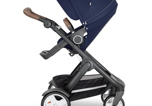 Stokke 2019 Stokke Trailz Black Frame- Brown Handle Stroller With Terrain Wheels  And Carrycot In Deep Blue