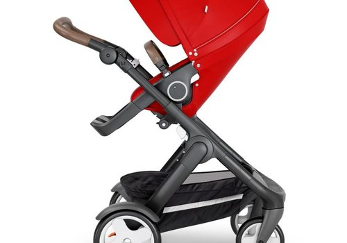Stokke 2018 Stokke Trailz Black Frame- Brown Handle Stroller With Terrain Wheels  And Carrycot In Red
