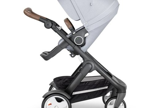 Stokke 2019 Stokke Trailz Black Frame- Brown Handle Stroller With Terrain Wheels  And Carrycot In Grey Melange