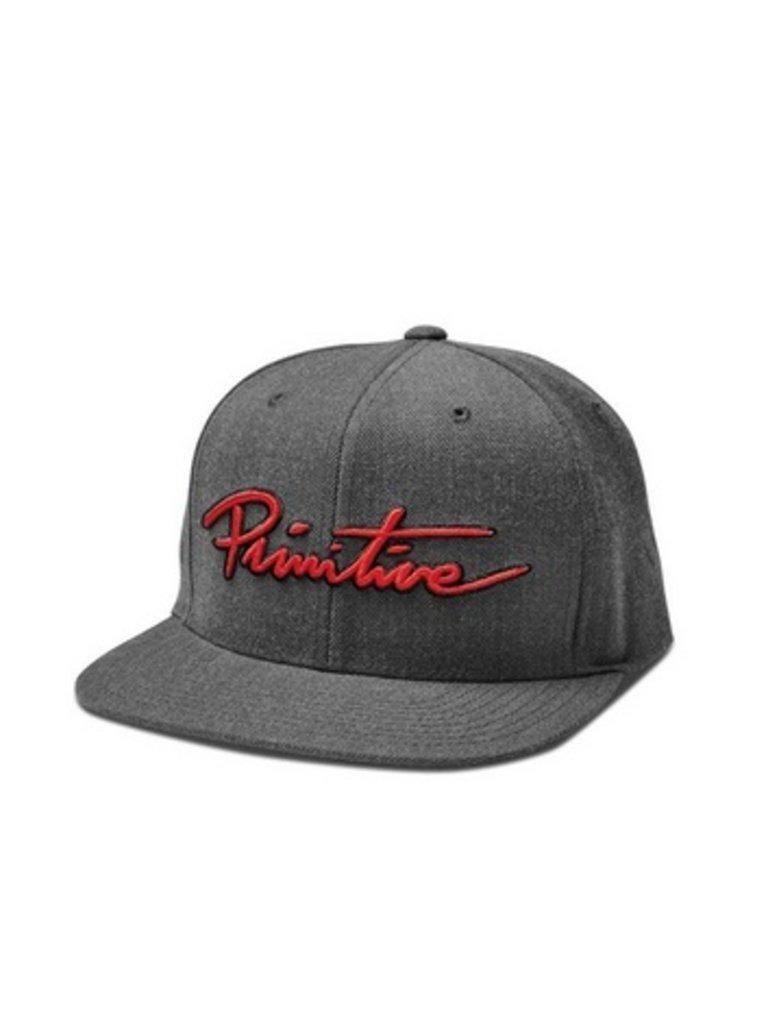 e67836a1 PRIMITIVE - NUEVO SCRIPT SNAPBACK CAP (CHARCOAL) - Boutique ROOKERY  skateshop