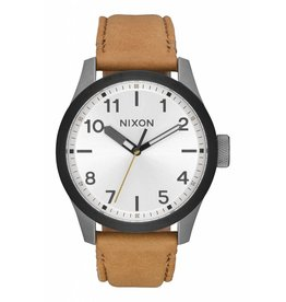 NIXON NIXON - SAFARI LEATHER GUN METAL/SILVER