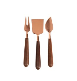 Be Home Wood Cheese Set Copper