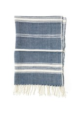 Creative Women Handwoven Hand Towel Aden Navy with Natural Stripe