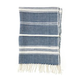 Creative Women Handwoven Hand Towel Aden Navy with Natural Stripe