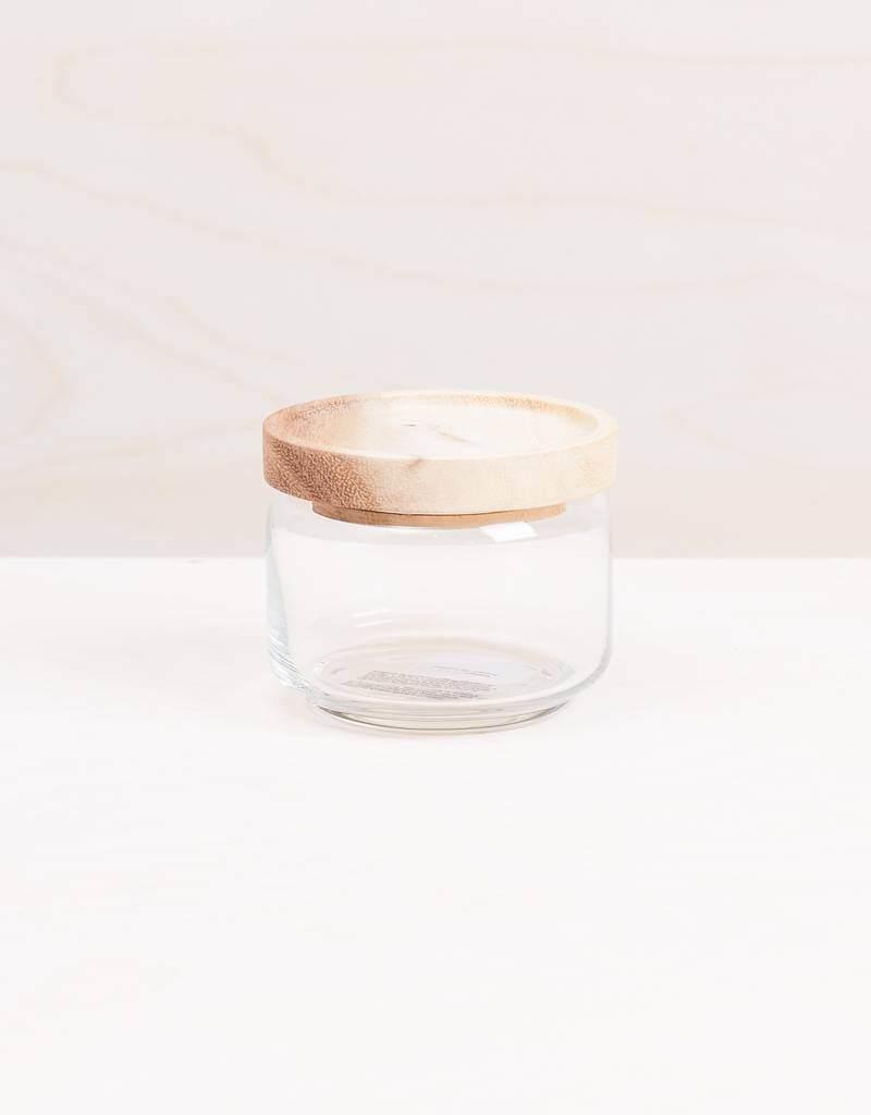 Be Home Glass Canister with Acacia Lid, Small