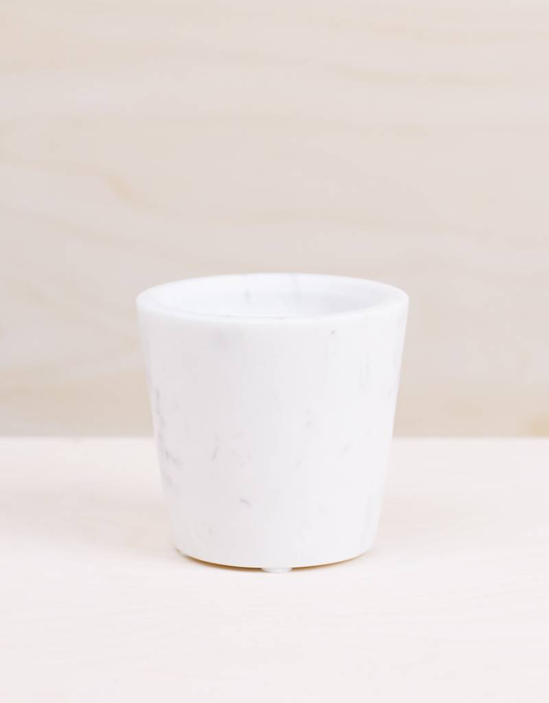 Be Home White Marble Round Planter