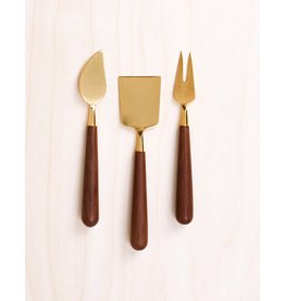 Be Home Walnut & Gold Cheese Knives