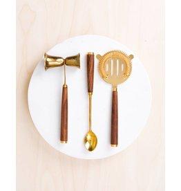 Be Home Bar Set, Gold & Walnut