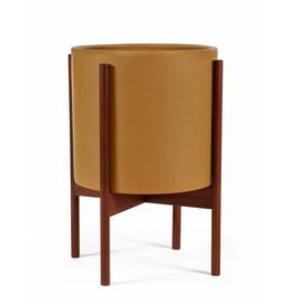 Modernica Large Planter w/ Walnut Wood Stand Mustard