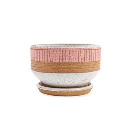 Veak Ceramics Pink Planter with Tray, Large