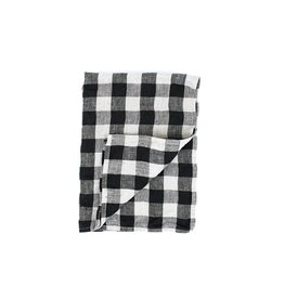 Fog Linen Thick Linen Kitchen Towel- Black/Natural Check
