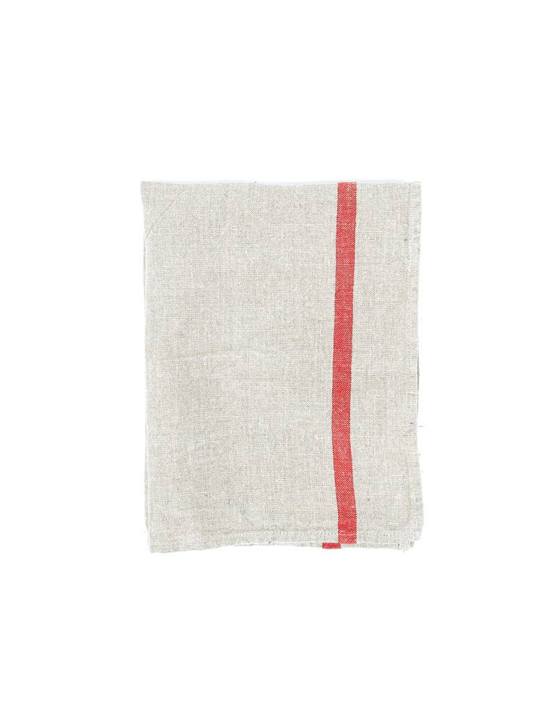 Fog Linen Thick Linen Kitchen Towel- Cloth w/ Red