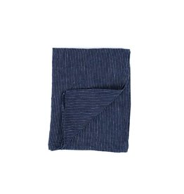 Fog Linen Thick Linen Kitchen Towel- Navy Pin Stripe