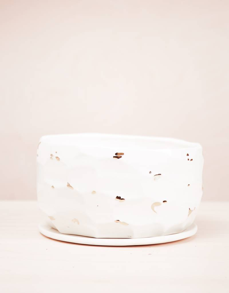The Object Enthusiast White Faceted Vessel Pot No. 7